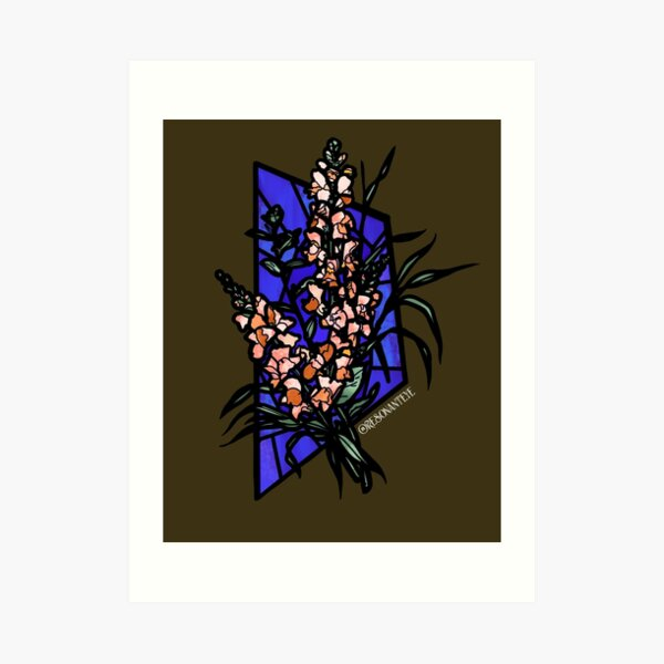 Stained glass snapdragons Art Print