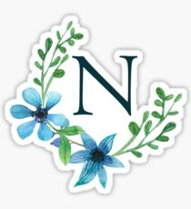 Monogram N Pretty Blue Flowers Sticker