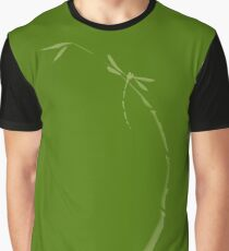 Artistic Japanese Zen illustration design of Dragonfly sitting in natural green colors art print Graphic T-Shirt