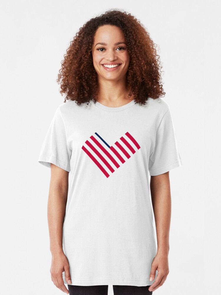 Alternate view of Heart Flag logomark, Ev'ry Heart Beats True Slim Fit T-Shirt