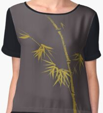Exquisite artistic design in oriental Japanese Zen style of a golden bamboo stalk on earthy gray art print Chiffon Top