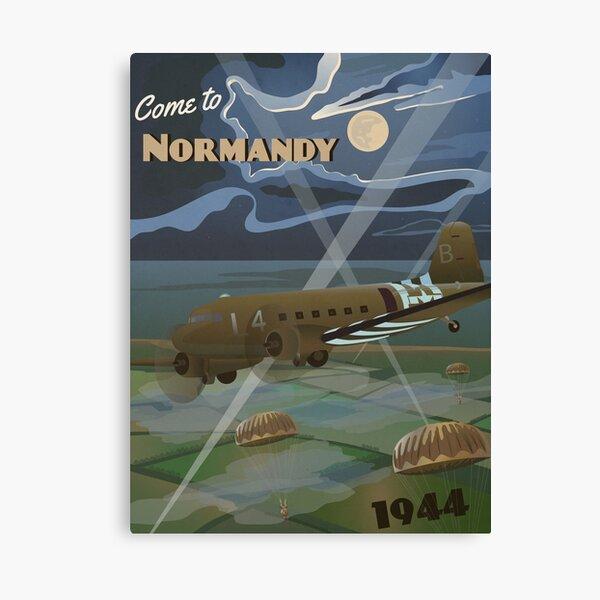 los aliados no invadirán aquí.  Este póster de viaje de inspiración vintage representa la costa francesa de Normandía en la noche nublada del 6 de junio de 1944.   Lienzo