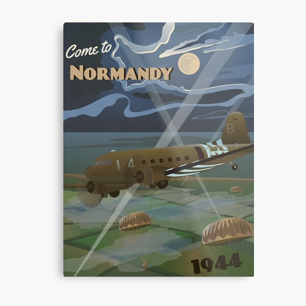 """Normandy 1944 """"D-Day Travel Poster"""" Metal Print"""