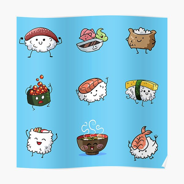 Sushi Pals (Blue) Poster