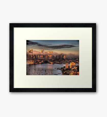 Misty- Sydney Harbour & Skyline - The HDR Experience Framed Print