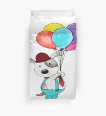dog with paloons  Duvet Cover