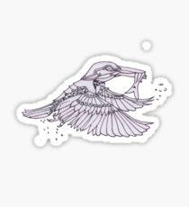 Steampunk Kingfisher black n white Sticker