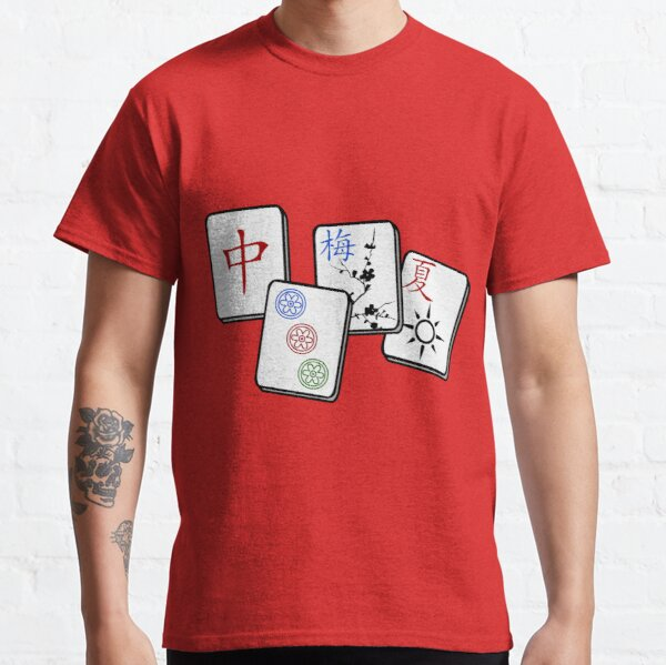 Mah Jong cubes on red background  Classic T-Shirt
