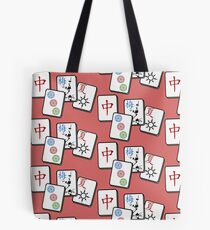 Mah Jong cubes on red background  Tote Bag