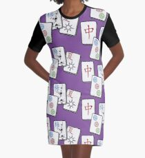 Mah Jong cubes game on purple background Graphic T-Shirt Dress