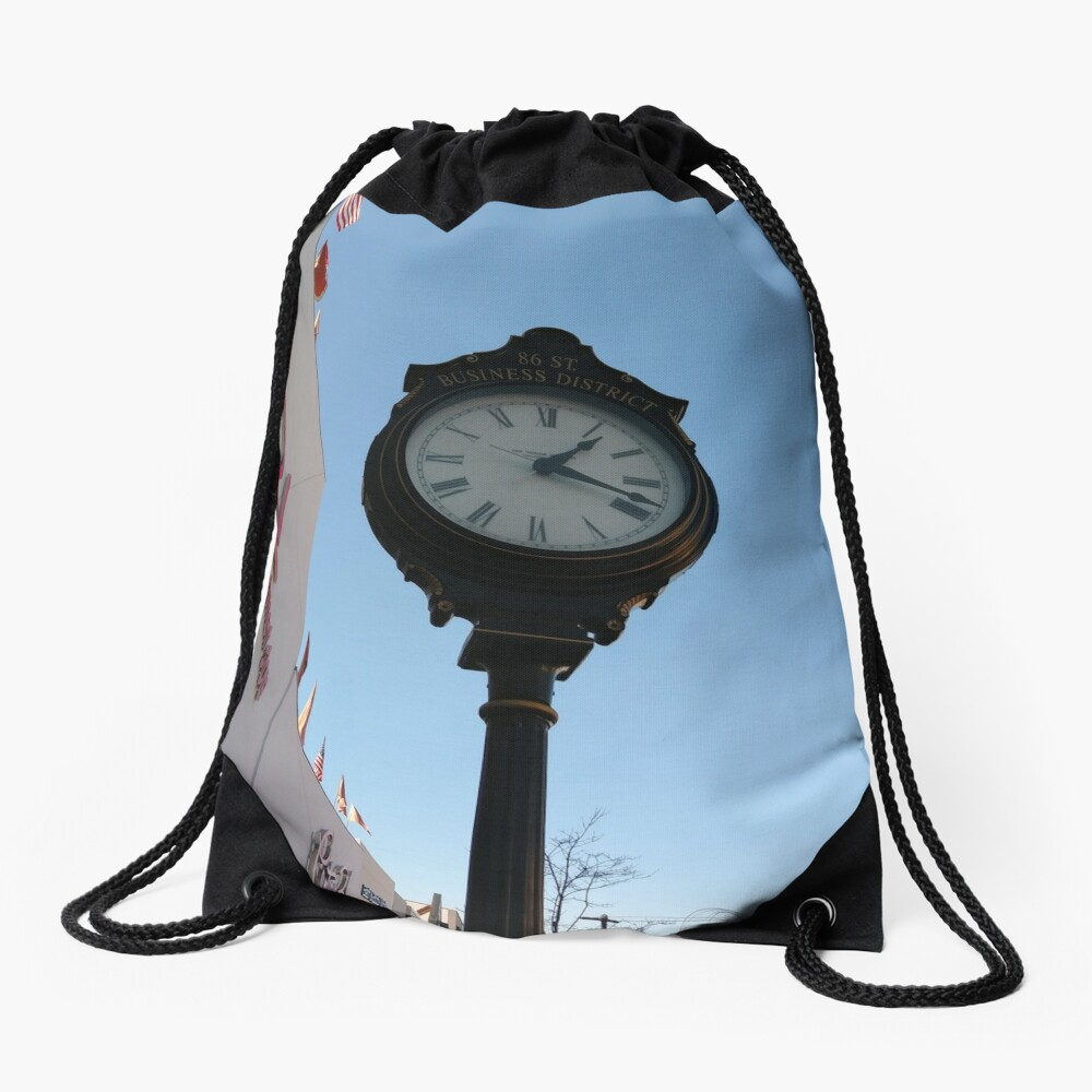 Clock, #clock, Brooklyn, #Brooklyn, Manhattan, #Manhattan, New York, #NewYork, NYC, #NYC, New York City, #NewYorkCity Drawstring Bag