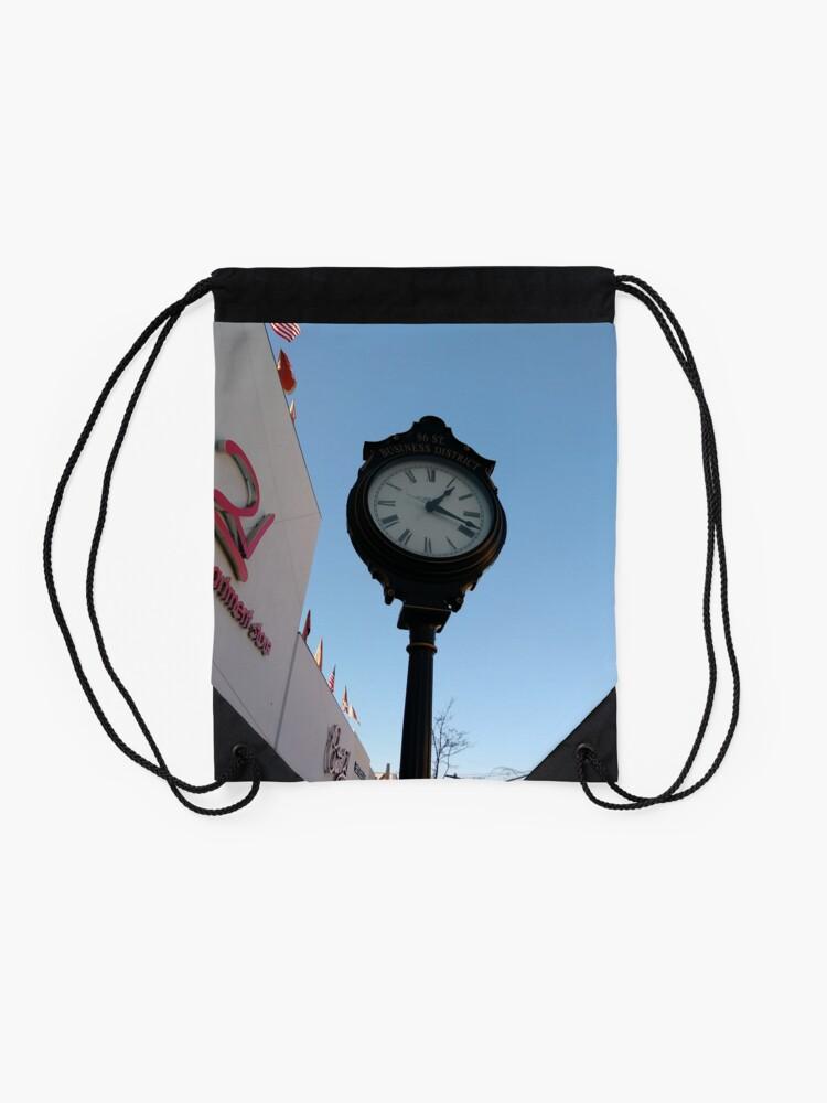 Alternate view of Clock, #clock, Brooklyn, #Brooklyn, Manhattan, #Manhattan, New York, #NewYork, NYC, #NYC, New York City, #NewYorkCity Drawstring Bag