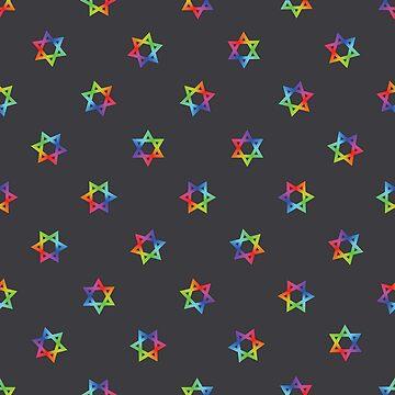 Rainbow Star of David Pattern on Dark Gray by DomPlatypus