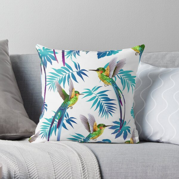 Tropical Birds Fly In Aqua Palm Leaves Throw Pillow