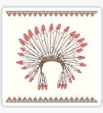 Hand drawn native american indian chief headdress Sticker