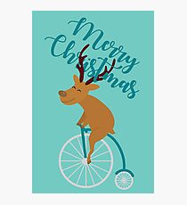Mr Reindeer having Fun with his Penny-farthing Bicycle Christmas Photographic Print