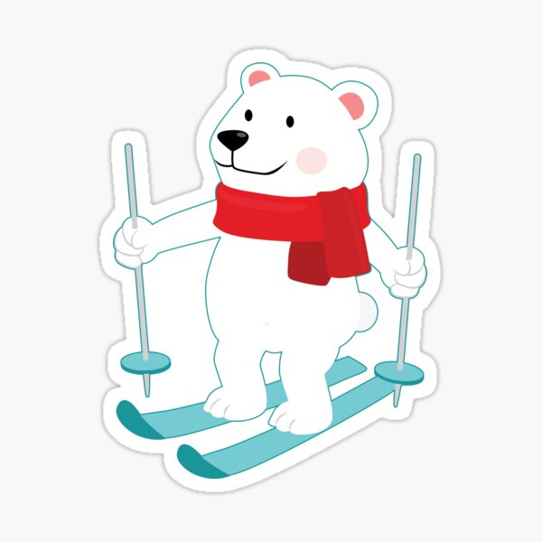 Lets Go Skiing with Mr Polar Bear this Merry Christmas Sticker