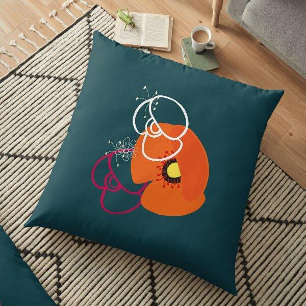Poppy pattern (blue green background) Floor Pillow