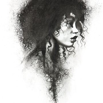 charcoal drawing of a girl with curls by stoekenbroek