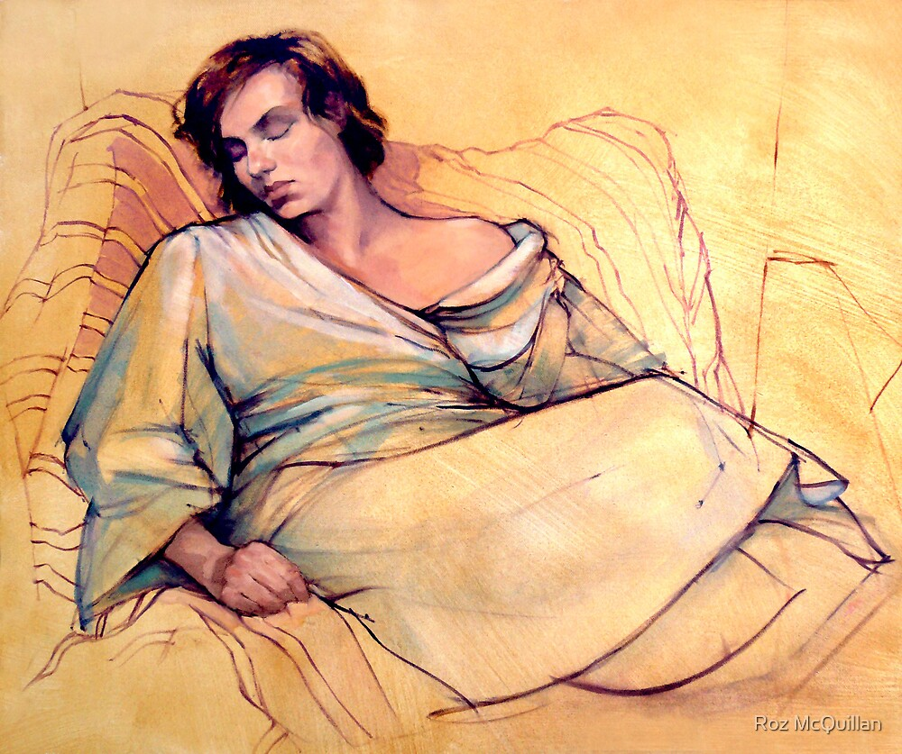 Portrait of Lucy sleeping by Roz McQuillan