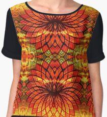 Tropical Summer Yellow Orange Gold Mandala Sunflower Pattern Chiffon Top