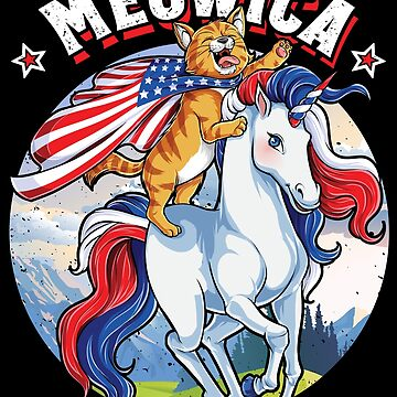 Meowica Cat Unicorn 4th of July T shirt Kids Girls Merica by LiqueGifts