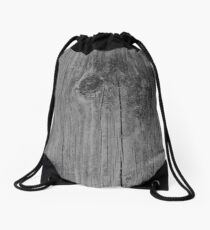 Wood Grain Grayed Barn Board with Knot  Drawstring Bag