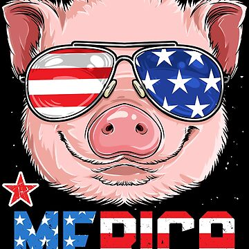 Pig Merica 4th of July T shirt Girls American Flag USA Gifts by LiqueGifts