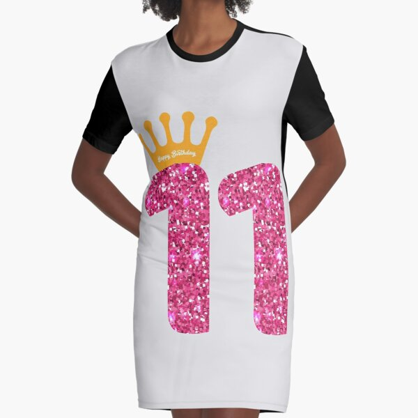11th Queens Crow Happy Birthday for Girls Graphic T-Shirt Dress