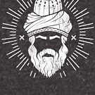 Rumi - Graphic Silhouette Head with Rays by MunirZamir
