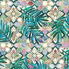 Muted Moroccan Mosaic Tiles with Palm Leaves by micklyn