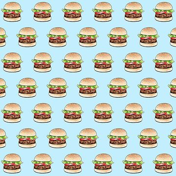Rows of burgers on pale blue by HazelFisher