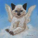 Angel cat over the rainbow bridge by AlessandraArt