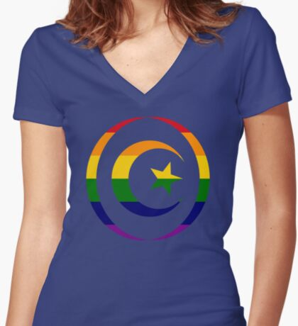 Muslim (Rainbow) Women's Fitted V-Neck T-Shirt
