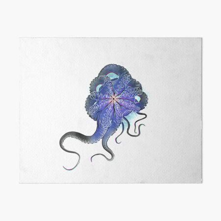 Octopus in lines with glitch effect Art Board Print