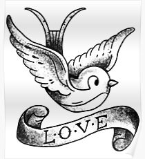 Beautiful Dove With Love | Black and White Dove  Poster