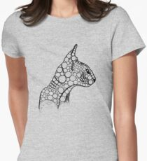 Black Fractal Sphynx Women's Fitted T-Shirt