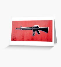 M16 Assault Rifle on Red Greeting Card