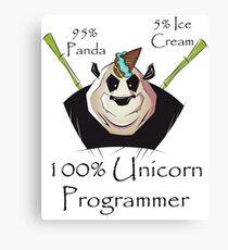 100% Unicorn 95% Panda 5% Ice Cream Programmer Canvas Print