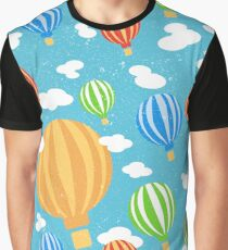 Pattern with cartoon colorful balloons in blue sky Graphic T-Shirt