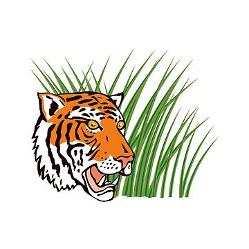 Tiger Hiding in Grass Retro by retrovectors