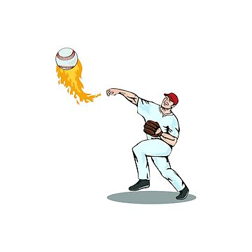 On Fire Baseball Pitcher by retrovectors