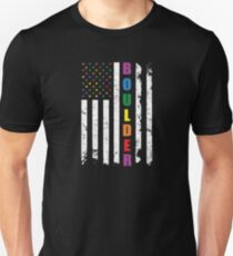 Boulder Colorado Gay Pride Shirt - Boulder LGBT Rainbow Flag Shirt Unisex T-Shirt