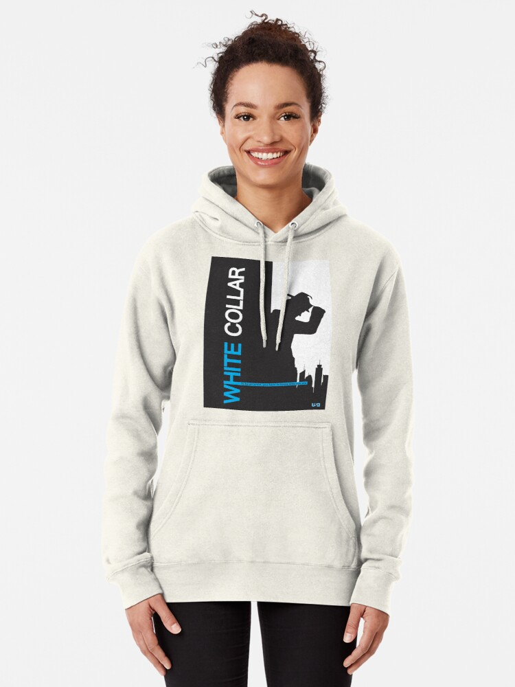 Alternate view of White Collar Pullover Hoodie