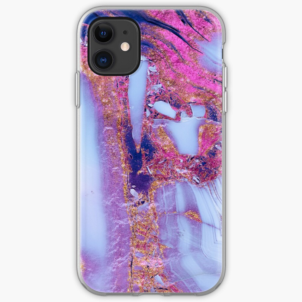 Elegant marbled purple and blue gem stone  iPhone Case & Cover