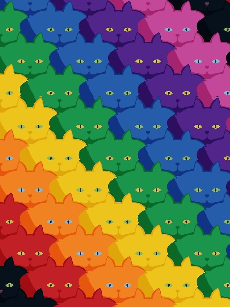 Rainbow Diagonal Jumbo Stripe Cattern [Cat Pattern] by brentpruitt