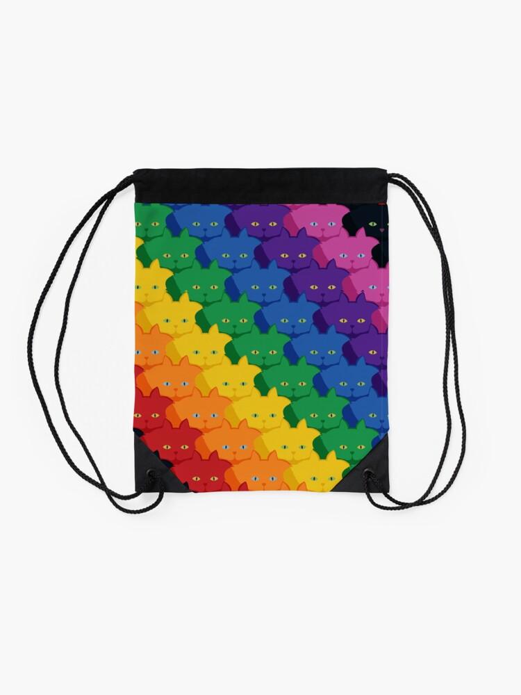 Alternate view of Rainbow Diagonal Jumbo Stripe Cattern [Cat Pattern] Drawstring Bag