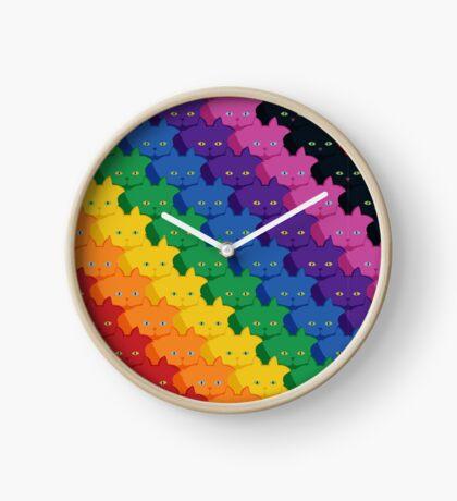 Rainbow Diagonal Jumbo Stripe Cattern [Cat Pattern] Clock