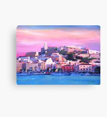 Ibiza Eivissa Old Town And Harbour Pearl Of The Mediterranean  Canvas Print