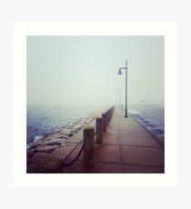 A Foggy Pier Art Print